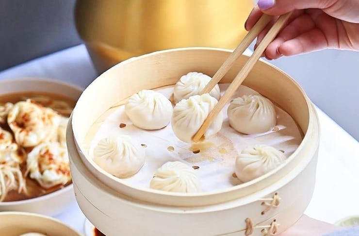 A steamer filled with Din Tai Fung's amazing dumplings.
