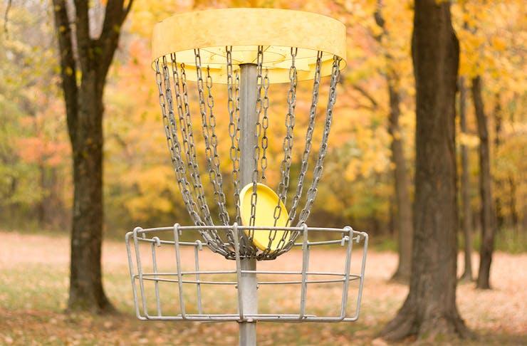 Disc Golf Basket in a park