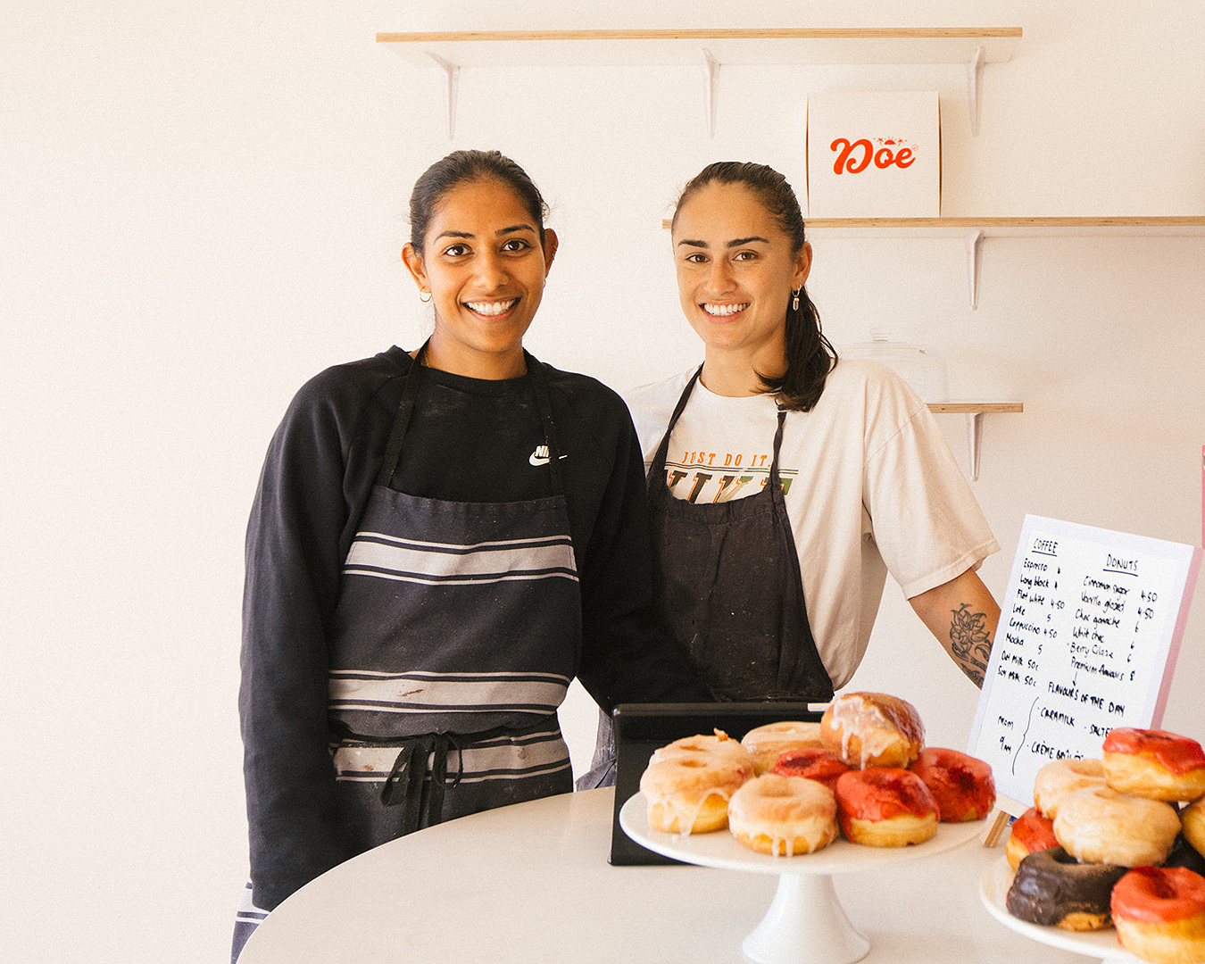 Shenine and Grace from Doe Donuts in their wonderful wee store.