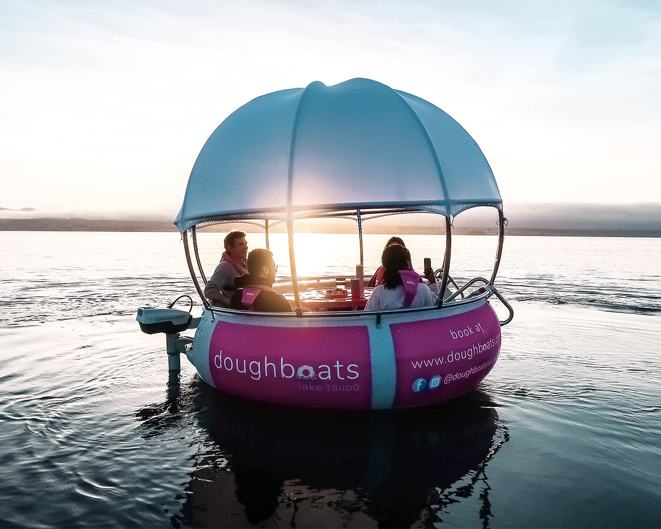 A doughboat bobs on the water.