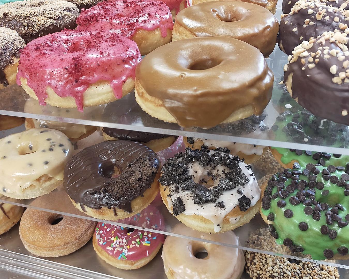 A dizzying array of doughnuts at Doughnut Haus.