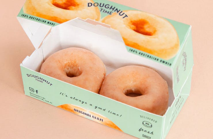 a box of two doughnuts