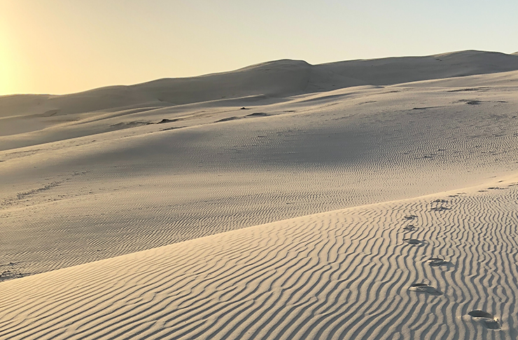 Footsteps in white sand dunes drenched in warm, afternoon sun.