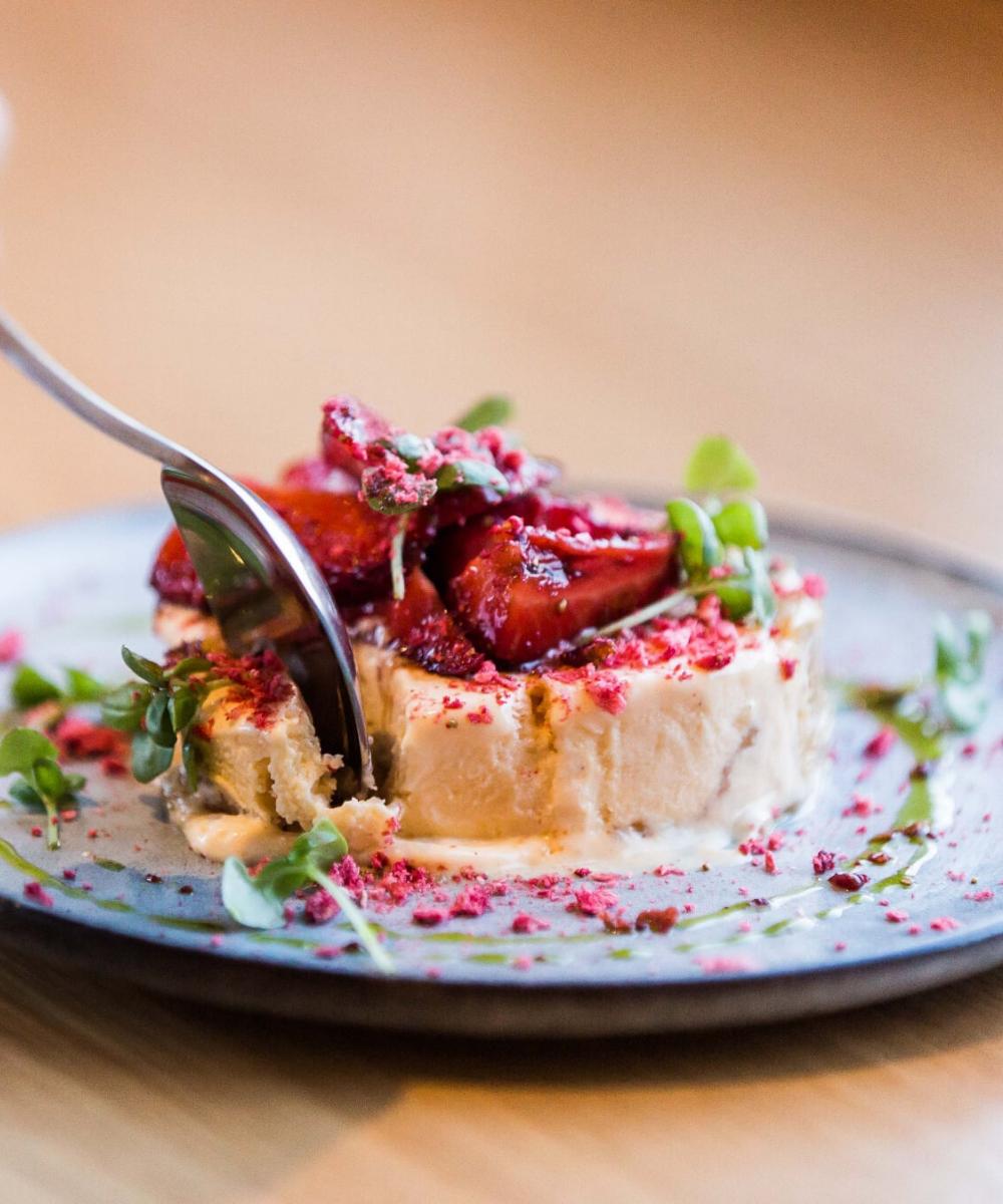 Strawberry, basil, pine nut, amaretto semifreddo. You're gonna wanna leave room for dessert...