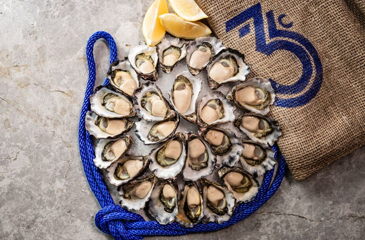 A display of Sydney Rock Oysters from East 33.