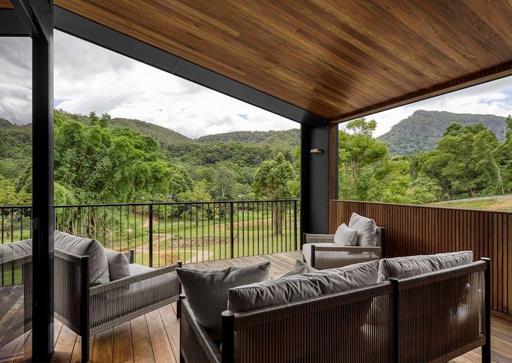 verandah overlooking hills at eden