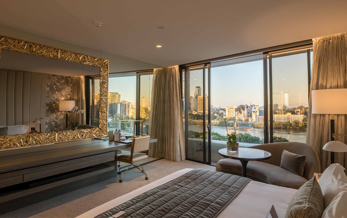 a luxe hotel room