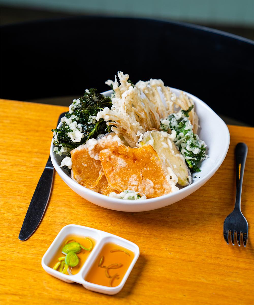 a bowl of tempura vegetables