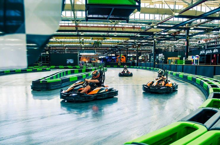 The bright green e-kart track at Entertainment Park, Sydney.