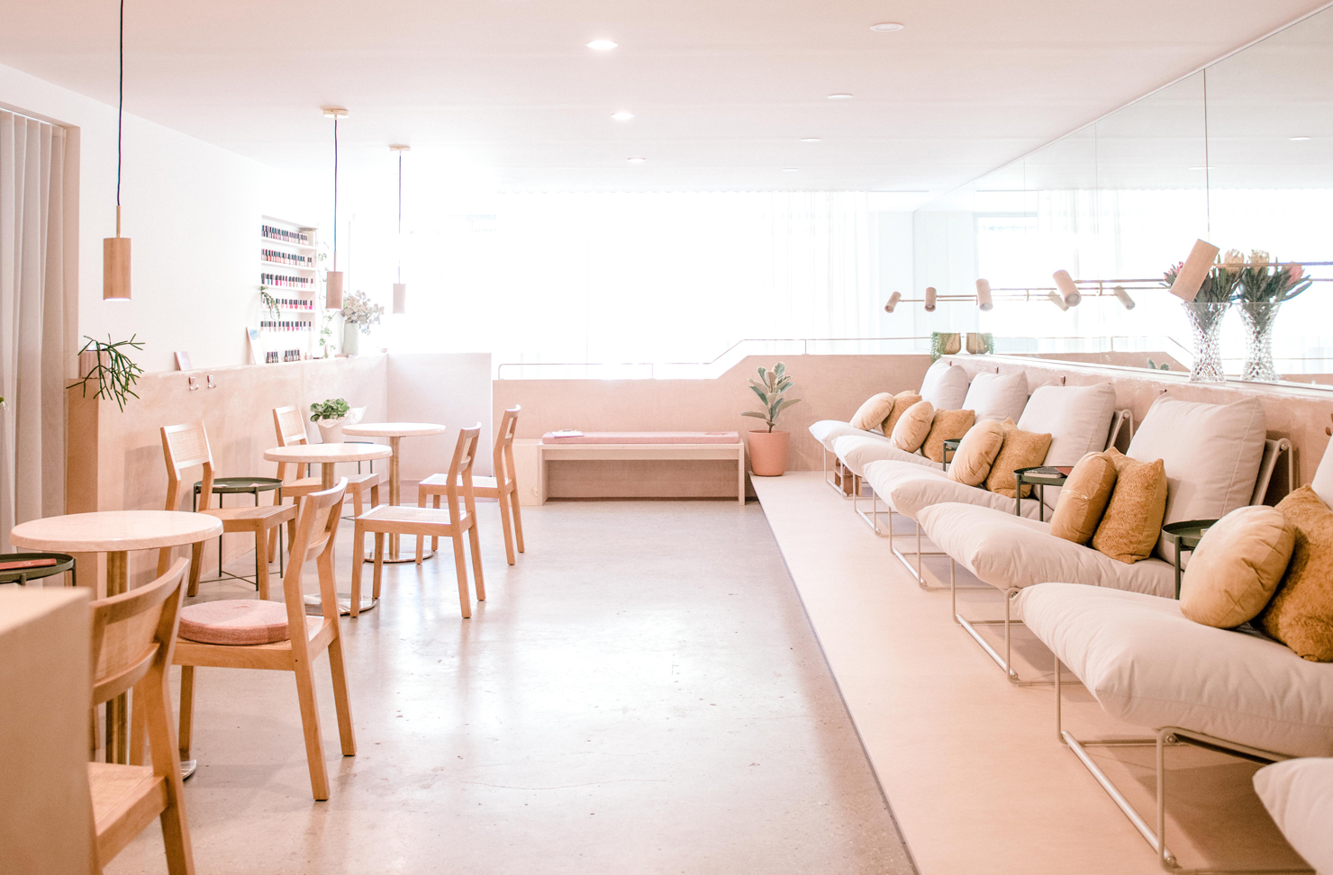 The calming and softly-toned interior of Gold Coast organic nail salon, Erva.