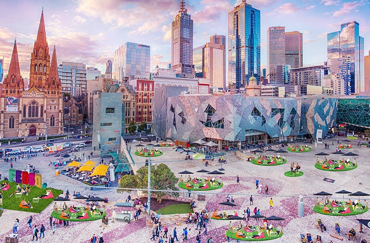 Fed Square covered in green grass.