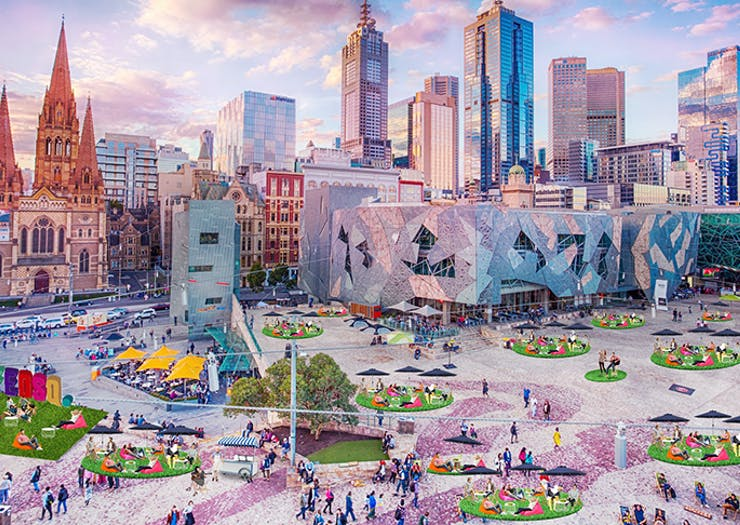 Gear Up For Alfresco Season, Fed Square Has Been Transformed Into A Green Oasis And Outdoor Cinema