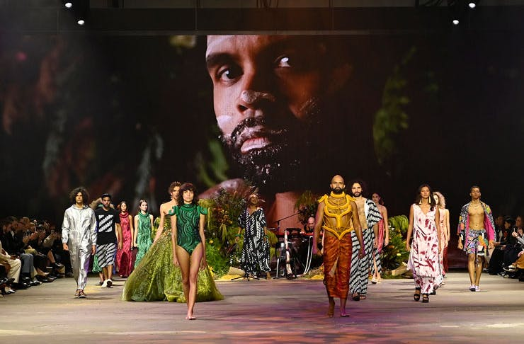 Models on the runway at the First Nations Fashion And Design presentation at Afterpay Australian Fashion Week.