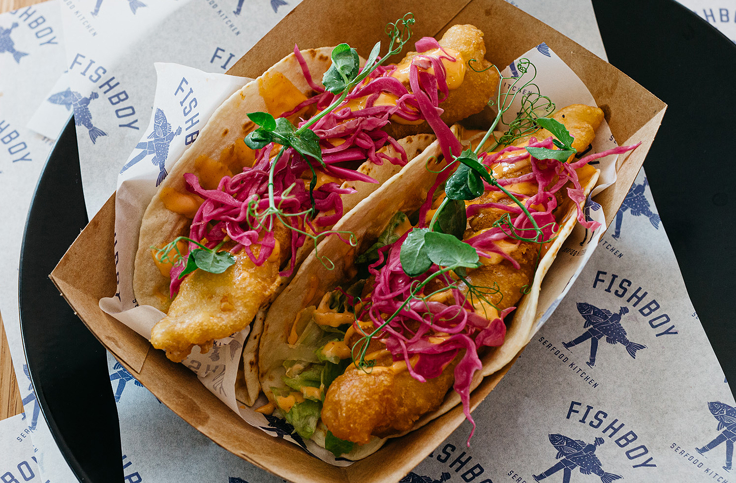 Fish tacos from Fishboy look delicious.