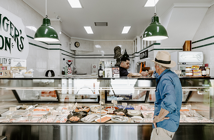 The interior of a fishmonger store.