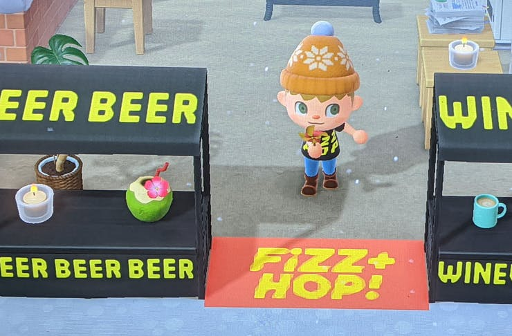 The Fizz + Hop bottle shop recreated in the game Animal Crossing.