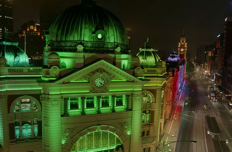 Flinders Street Station Just Got A Bunch Of New Coloured LED Lights Put All Over It