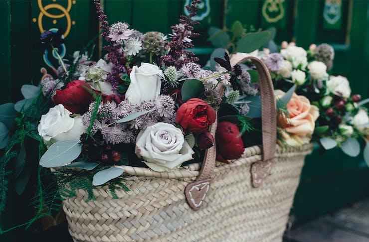 a basket of beautiful flowers