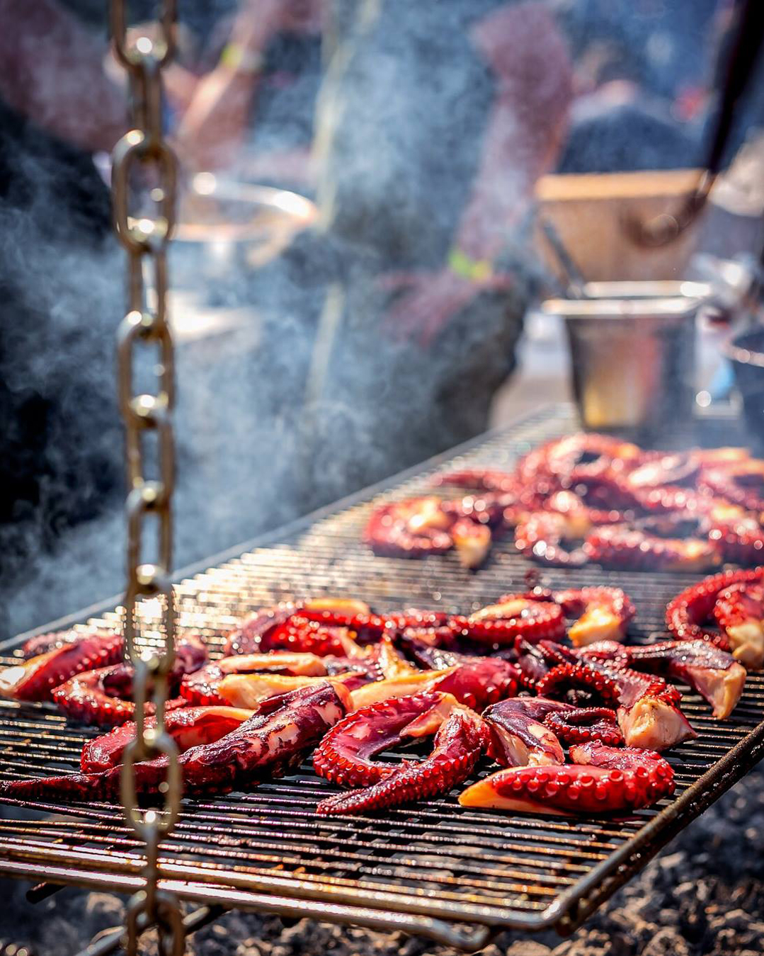 calamari being cooked over grill