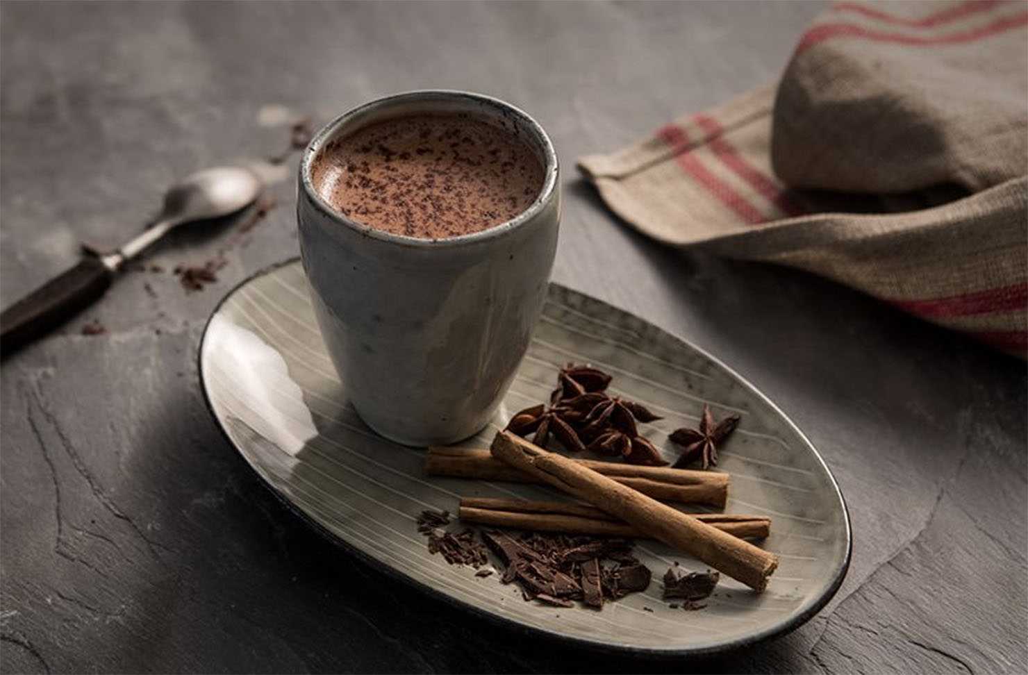 Spiced hot chocolate at Founders cafe