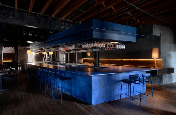 The juniper blue-coloured bar at Four Pillars Gin Laboratory in Sydney.