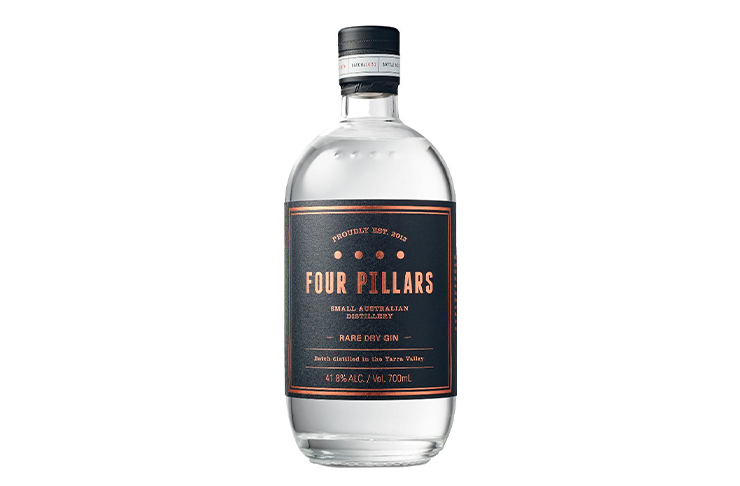 A bottle of Four Pillars Gin, another home bar essential.