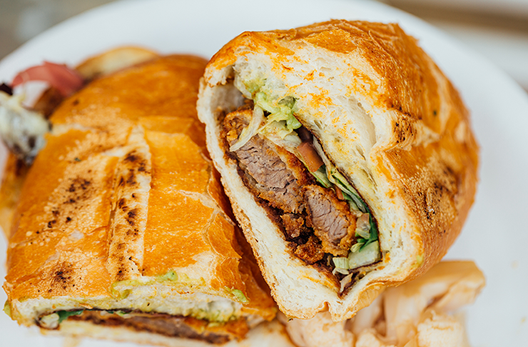 A freshly-made torta from Frankie's, stuffed with beef milanesa.
