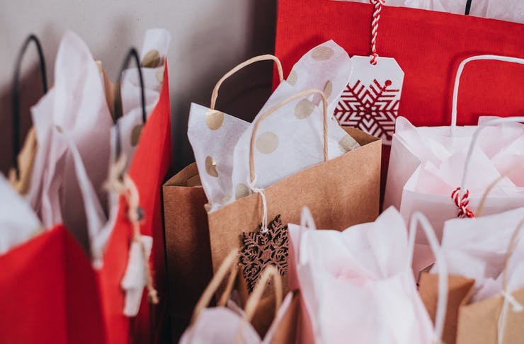 Bags of Christmas gifts