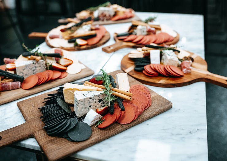 Selection of Cheese boards arrayed on a table