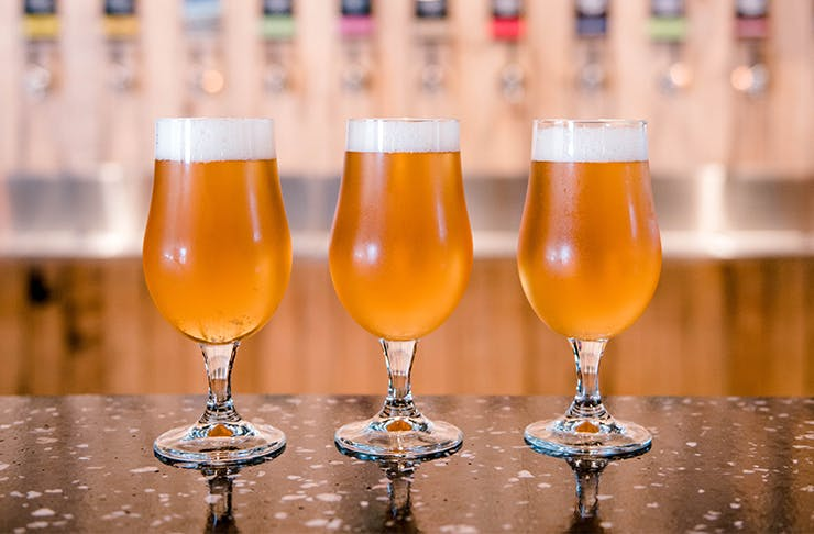 three beers in glasses on a bar