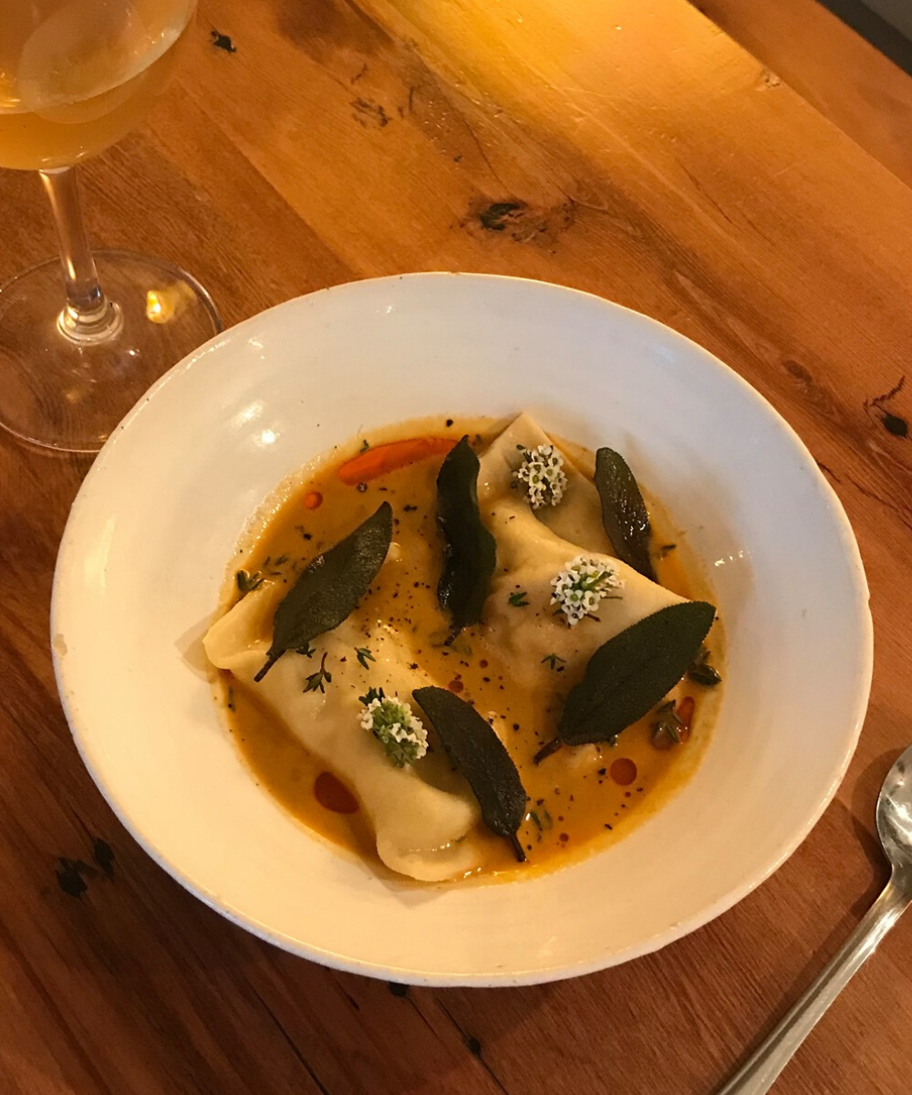 Crayfish Bisque, agnolloti, coral and chilli oil and aromatic herbs. Drool.
