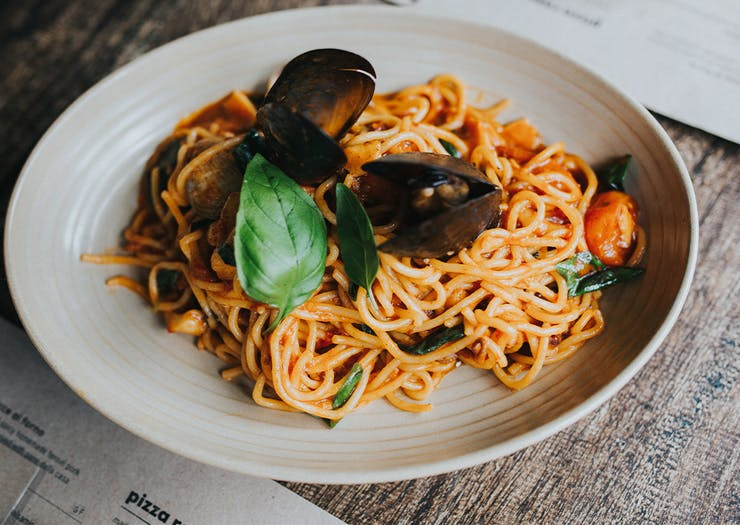 a bowl of spaghetti