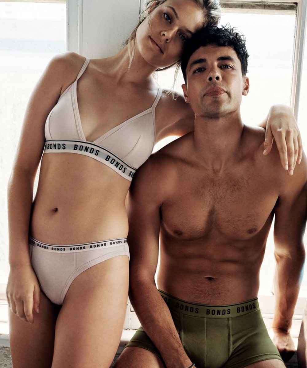 A woman and a man wearing new organic Bond's underwear