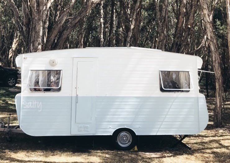 Set Yourself Up By The Beach In This Vintage Caravan Filled With Gin