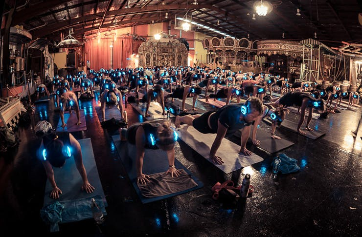 glow in the dark silent yoga Sydney