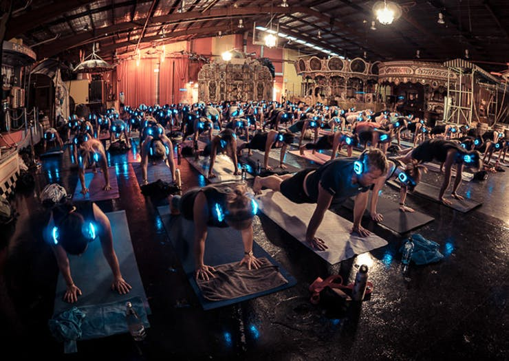 glow in the dark silent yoga Sydney