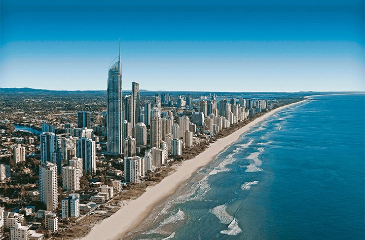 an aerial shot of the surfers paradise skyline