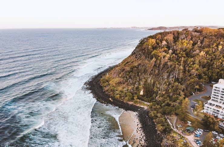 A scenic drone shot of a Gold Coast headland.