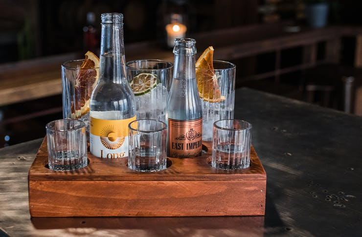 a gin tasting tray