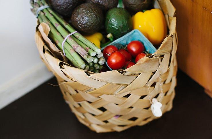 A basket of groceries by the door
