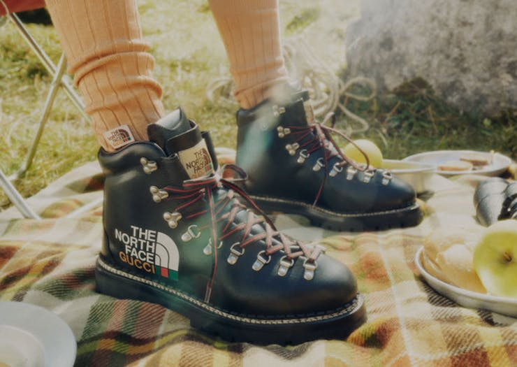 The North Face x Gucci black hiking boots.