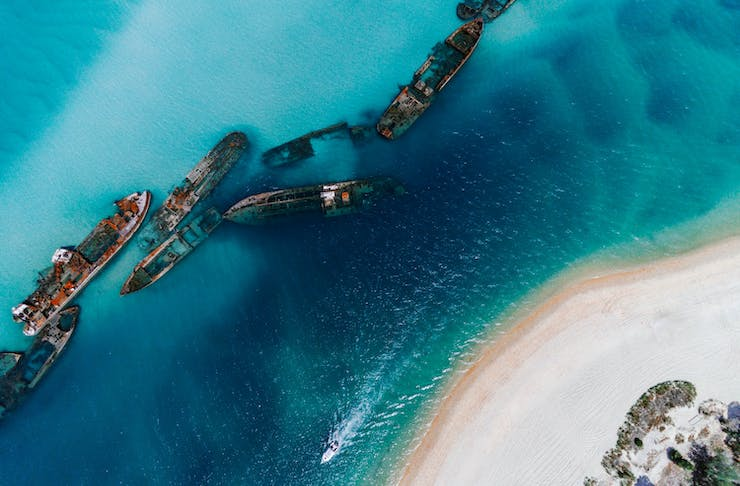 An aerial view of the Tangalooma shipwreck on Moreton Island.