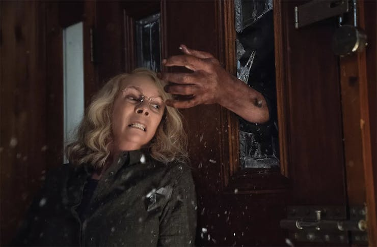 Laurie Strode and faces her long-time masked foe Michael Myers
