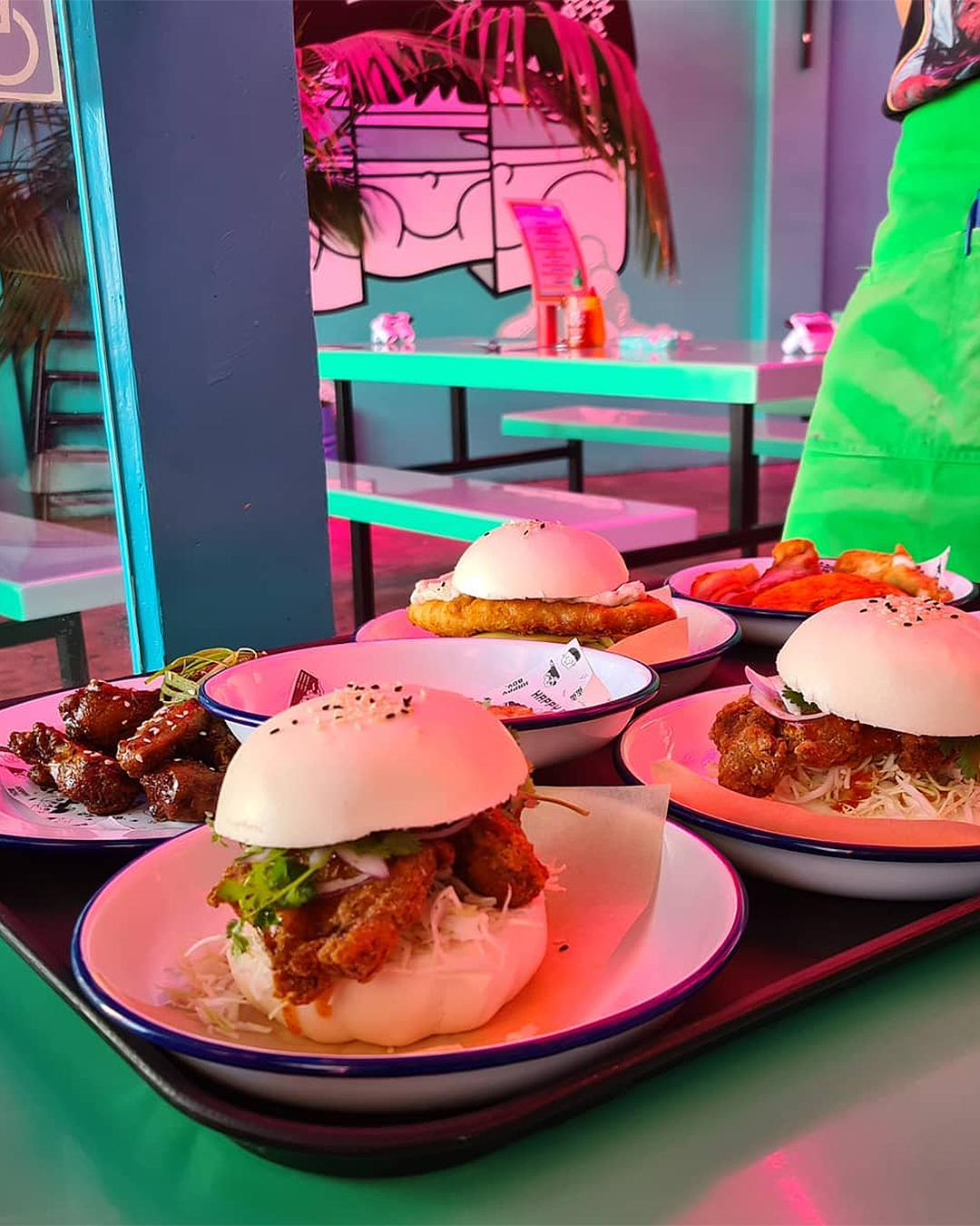 A table loaded with Baogers from Happy Boy.