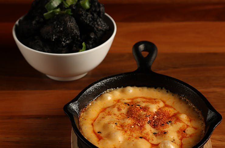 Pot of cheese fondue