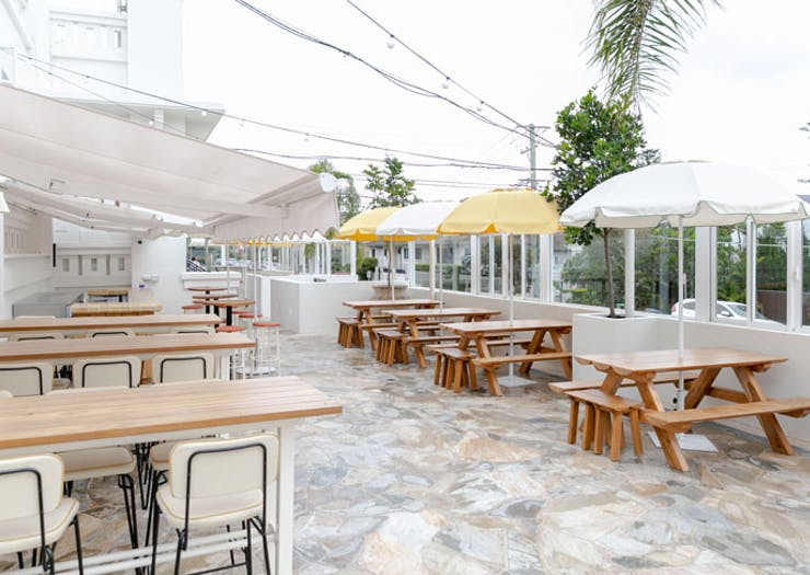 A terrace bar at the new Harbord Hotel.