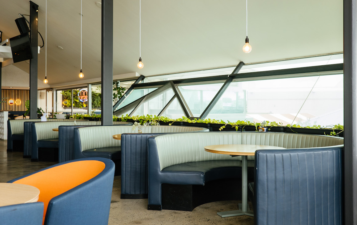 cosy round booths at Harbourside in Fremantle