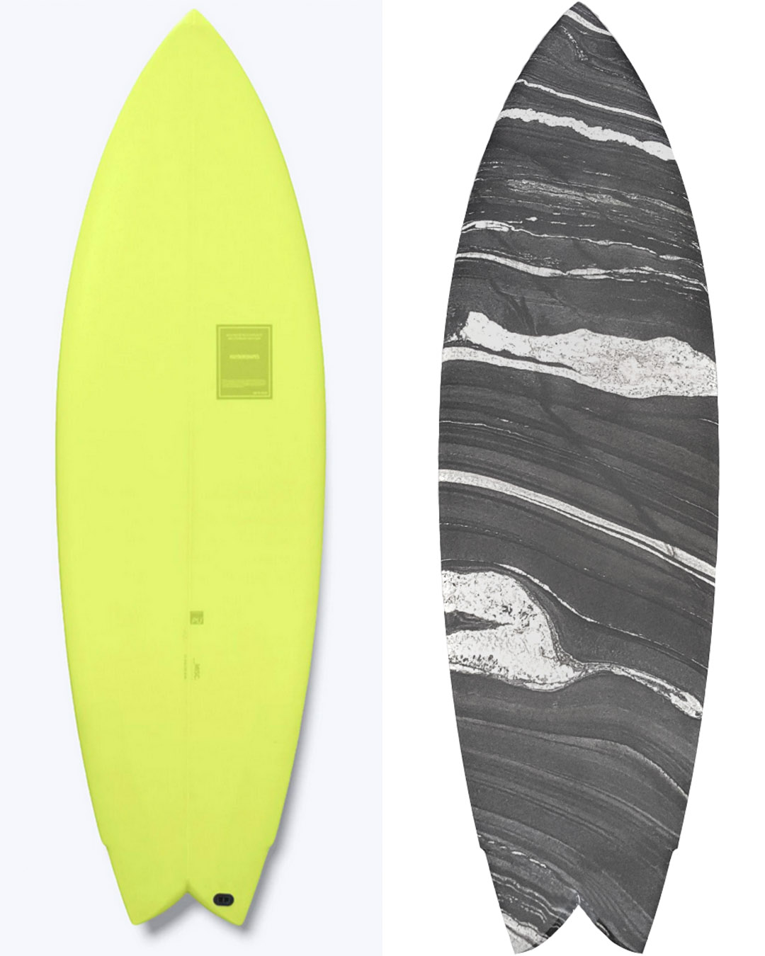 The Haydenshapes x Superette surfboards in wheatgrass and marble.