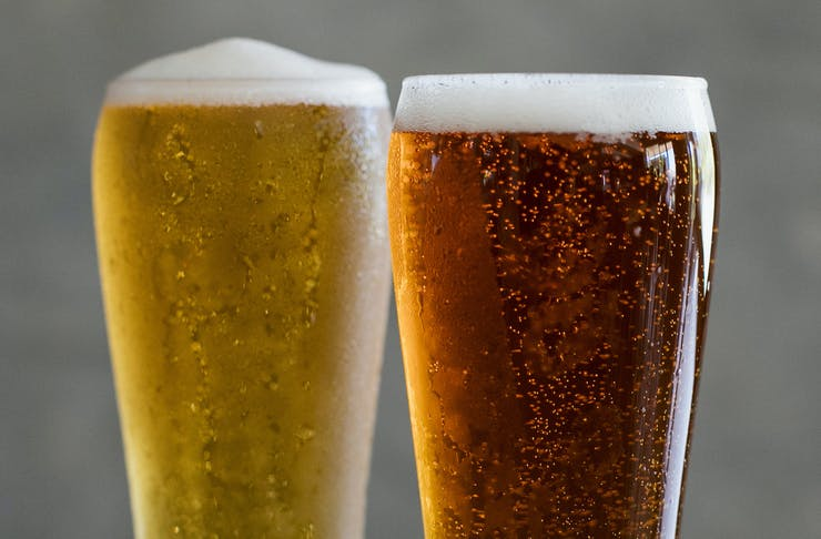 A close up shot of two glasses of freshly-poured beer.