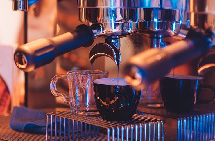 a close up of a home coffee machine.